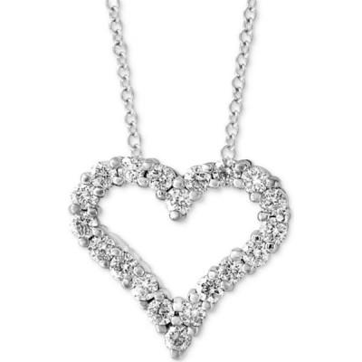 """エフィー EFFY Collection レディース ネックレス ハート EFFY Diamond Heart 18"""" Pendant Necklace (1/2 ct. t.w.) in 14k White Gold White Gold"""