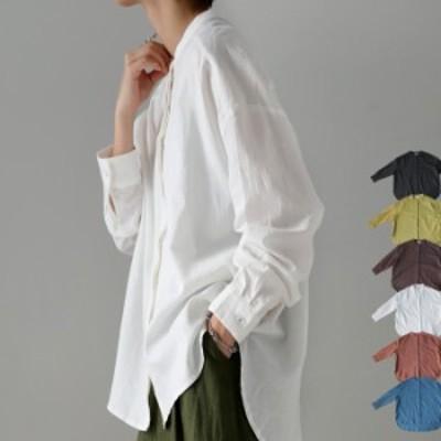 大人の新定番。女っぽい抜け感を演出する。スタンドカラーシャツ・メール便不可 母の日