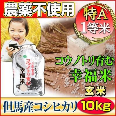 お米 10kg 玄米 コシヒカリ 特別栽培米 5kg×2 農薬不使用 兵庫県 但馬産 コウノトリ育む幸福米 特A 一等米 送料無料 令和2年産 タイムセール 安い