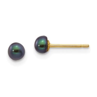 14 kイエローゴールド4 mmブラックボタン淡水養殖真珠スタッドポストイヤリングボールファインジュエリーギフト用女性用彼女
