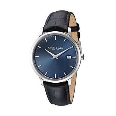 Raymond Weil Toccata Stainless Steel Swiss-Quartz Watch with Leather-Synthetic Strap, Black, 18 (Model: 5488-STC-50001) 並行輸入品