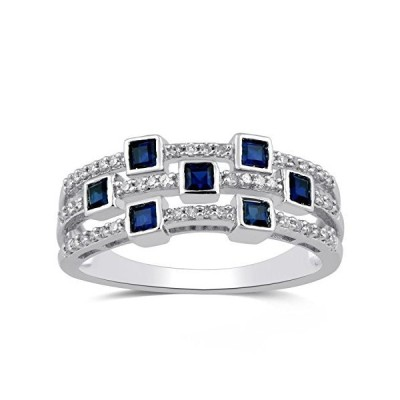 Jewelili Sterling Silver 2 MM Princess Cut Created Blue Sapphire and 1/5 Ct