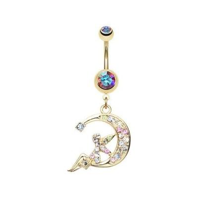 WildKlass Jewelry Golden Crescent Moon Fairy 316L Surgical Steel Belly