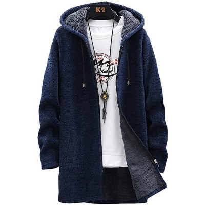 カーディガン メンズ 大きいサイズ 冬服 メンズ パーカー メンズ 裏起毛 ロング コート メンズ 冬 防寒 navy XL