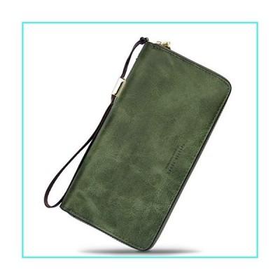 【新品】Wallet-NEWANIMA Women Multi-card Two Fold Long Zipper Clutch Purse (Style11-Green)(並行輸入品)