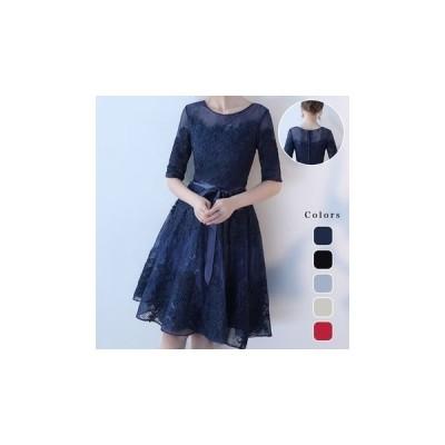 ドレス レース チュール 花柄 刺繍 大人 ワンピース fe-0002
