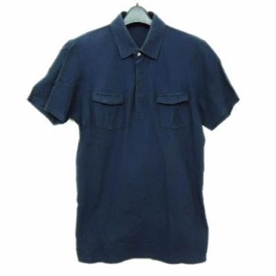 UNIQLO +J ユニクロ「L」ネイビー 鹿の子 半袖ポロシャツ (JILL SANDER ジルサンダー) 066314【中古】