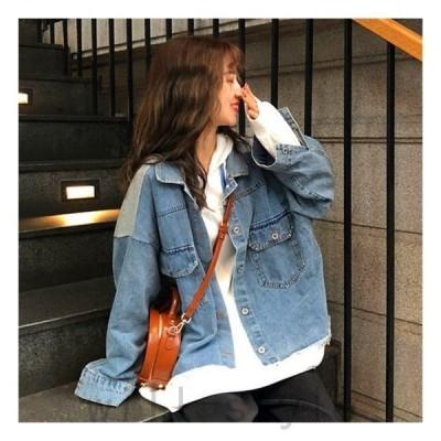 バックロゴスウェットドッキングデニムジャケットトレーナー韓国ストリートダンス衣装HIPHOP原宿オルチャン英文字Gジャン