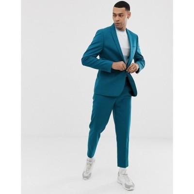 エイソス メンズ ジャケット・ブルゾン アウター ASOS DESIGN skinny suit jacket in teal