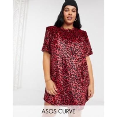 エイソス レディース ワンピース トップス ASOS DESIGN Curve padded shoulder short sleeve t-shirt mini dress in red velvet leopard