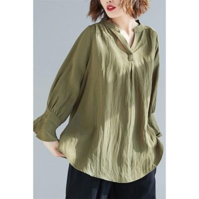 ブラウス シャツ 長袖 トップス レディース 無地 フレア袖 かわいい 大きいサイズ 柔らか シンプル ゆったり 快適 30代40代50代