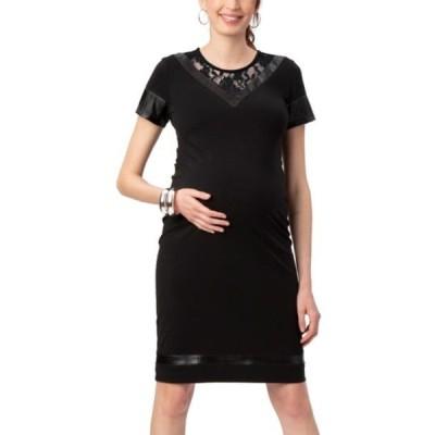 ストゥアウェイ・スウィーツ ワンピース トップス レディース Lace & Faux Leather Detail Maternity Dress Black