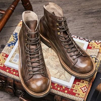 【サイズ38-44】ブーツ ハイヒール マーティン メンズ 本革 ワークブーツ マーチン 靴 革靴 本革シューズ ブーツ 男性 メンズ