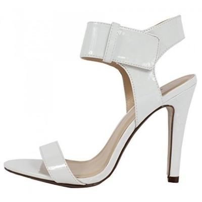 デリシャス レディース パンプス Delicious Women's Kamila Open Toe Faux PatentLeather Ankle Strap Single Soles