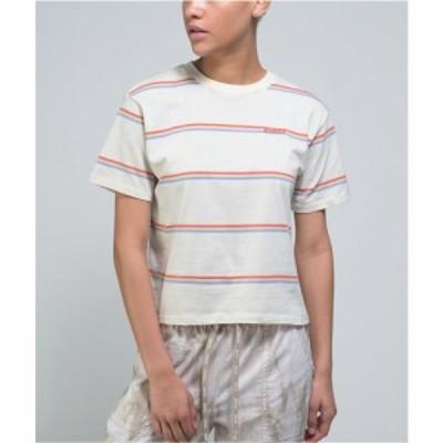 ディッキーズ DICKIES レディース Tシャツ トップス Dickies White. Blue. and Red Stripe Crop T-Shirt White