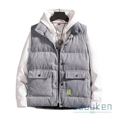 大きいサイズ 立ち襟 ノースリーブ 秋冬 厚手 防寒 防風 暖かい コーデュロイ 軽量  お出かけ 無地 3色選択