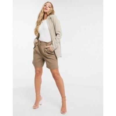 エイソス レディース ハーフパンツ・ショーツ ボトムス ASOS DESIGN dad shorts in brown pinstripe Brown pinstripe