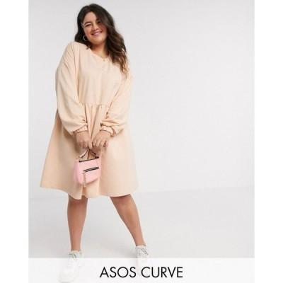 エイソス ASOS Curve レディース ワンピース ミニ丈 ワンピース・ドレス ASOS DESIGN Curve smock mini sweat dress with long sleeve in camel キャメル