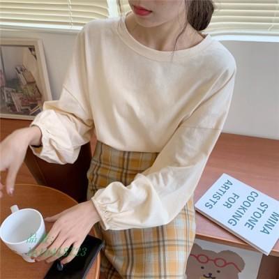 Tシャツ バルーンスリーブ ブラウス カットソー 長袖 レディース カジュアル オフィス 可愛い ゆったり トップス