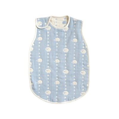 [10mois(ディモワ) - Hoppetta] ふくふくガーゼ(6重ガーゼ) ベビースリーパー 新生児3歳頃まで ブルー 着丈58cm 5260