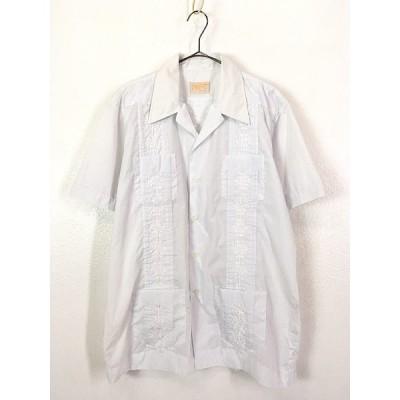 古着 80s PEPE サイド プリーツ & 4ポケット ホワイト キューバ シャツ 半袖 L 古着