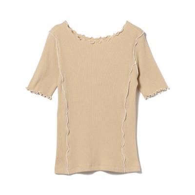 【ビームス ウィメン/BEAMS WOMEN】 Ray BEAMS / テレコ 配色 メロー ハーフスリーブ Tシャツ