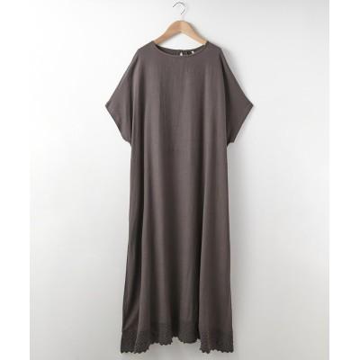 裾レース付 綿麻ワンピース (ワンピース)Dress