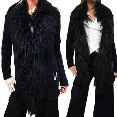 ウールファー前ホックカーデ 冬物黒カーディガン アラサーアラフォー大人女性の長袖アウター ニットカーデ ニットコート