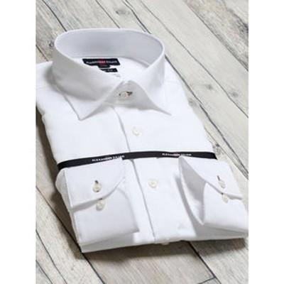 綿100% 形態安定 スリムフィット ワイドカラー長袖ビジネスドレスシャツ/ワイシャツ