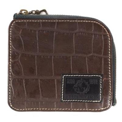 BULL ORIGINAL ブルオリジナル 財布 クロコダイル 型押し レザー コンパクトウォレット 財布 ブラウン 【メンズ】【中古】【美品】【K292