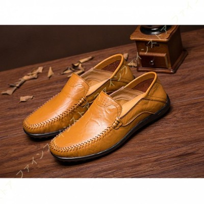 メンズ 靴 ドライビングシューズ ローファー スリッポン ビジネスシューズ 軽量 モカシン シューズ かかと踏める 革靴 紳士靴 カジュアル デッキシューズ