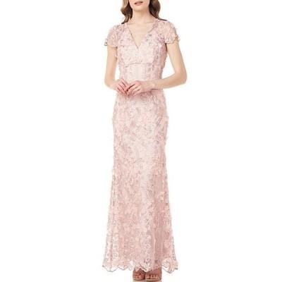 カルメンマークヴァルヴォ レディース ワンピース トップス V-Neck 3D Fleurette Illusion Sleeve Gown