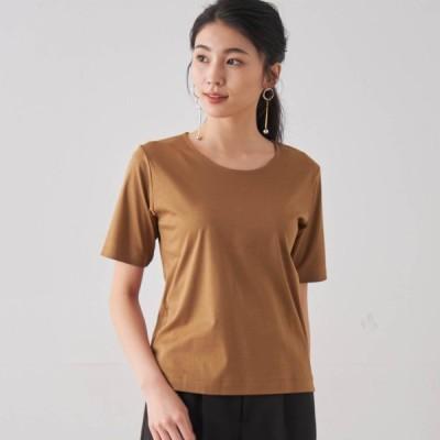 艶やかな綿100%・5分袖女っぽTシャツ キャメル S M L LL 3L
