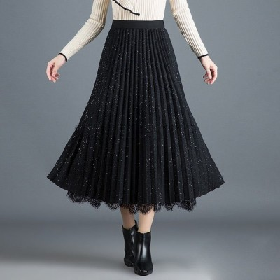 ドレステル リバーシブルプリーツスカート メッシュ Aラインスカート ハイウエスト スカート レースステッチスカート