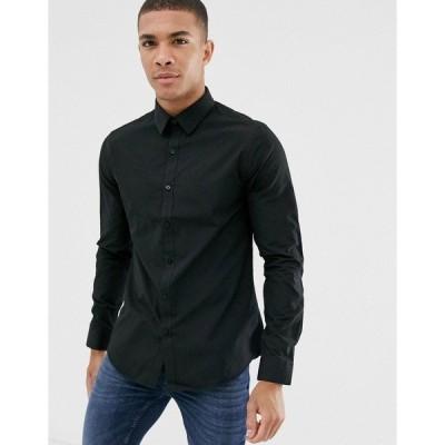 ニュールック メンズ シャツ トップス New Look poplin shirt in regular fit in black Black