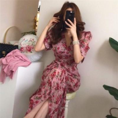 ワンピース レディース 膝丈 花柄 キャミワンピ tシャツ 春夏 半袖 ワンピース きれいめ 大きいサイズ 可愛い 韓国風 通勤新作