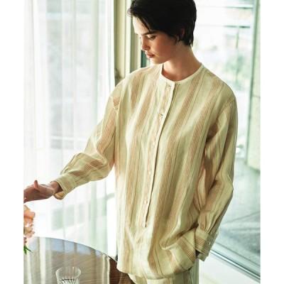 リネンストライプ ヘンリーネックシャツ 35010201402