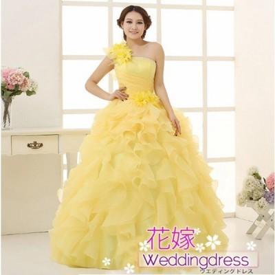 カラードレスウエディングドレスロングドレス演奏会忘年会全4色プリンセスラインサイズ調整可能