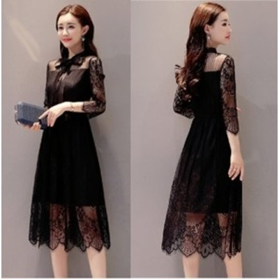 韓国 オルチャン ワンピース 裾 透け感 可愛い パーティー ドレス 7部袖 ひざ下丈 ミモレ丈 ひざ丈 ワンピース