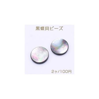黒蝶貝ビーズ コイン型 18mm【2ヶ】