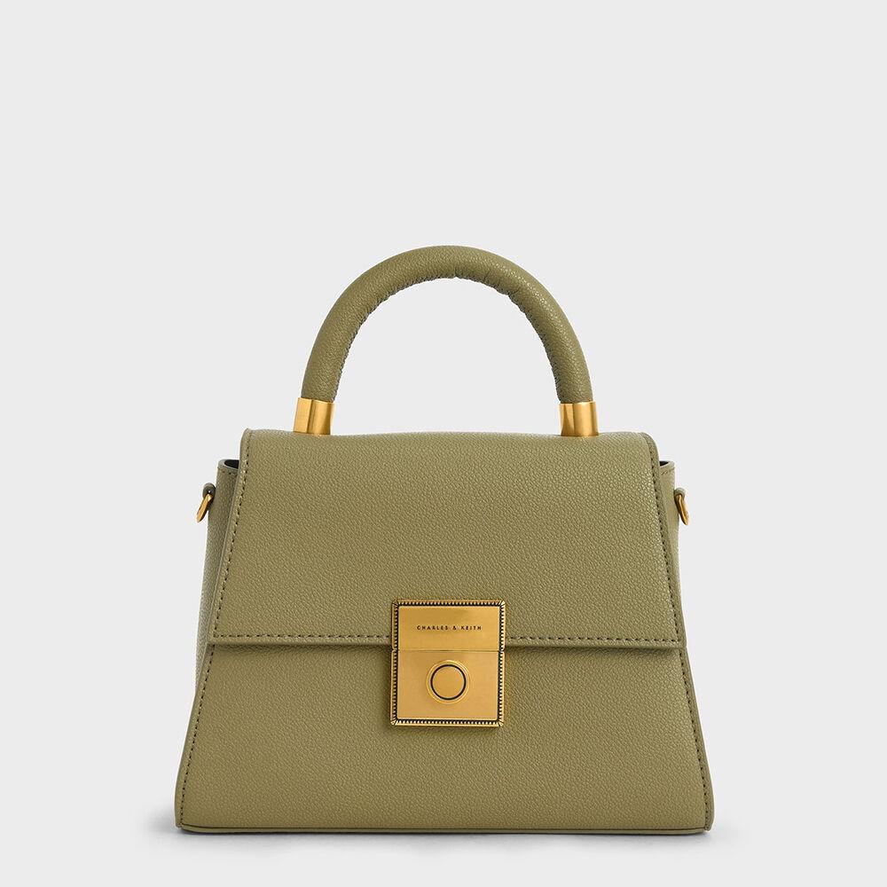 梯形金扣手提包