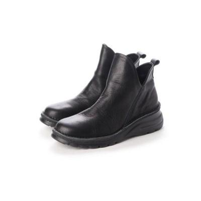 マルメロ marmelo 牛革サイドスリットショートブーツ (ブラック)