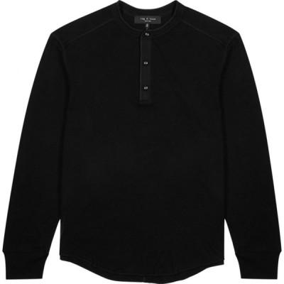 ラグ&ボーン rag & bone メンズ Tシャツ ヘンリーシャツ トップス Gibson Henley Black Cotton-Jersey Top Black