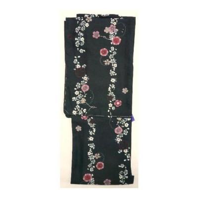 【特価処分品】洗える着物(単衣)・黒地に桜柄Lサイズ(pks0e01s)