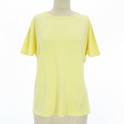 【中古】バーバリー ロンドン BURBERRY LONDON カットソー Tシャツ 半袖 クルーネック ロゴ刺繍 イエロー 黄色 42