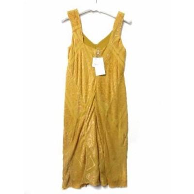 【中古】未使用品 メゾンマルジェラ 4 ワンピース 40 黄 イエロー シルク混 ノースリーブ ドレス S51CT0730 S45191 16SS ◎