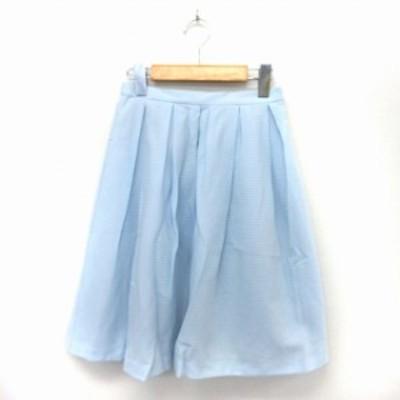 【中古】クミキョク 組曲 KUMIKYOKU スカート フレア タック 膝丈 サイドジップ ウエストゴム S2 ブルー /ST5