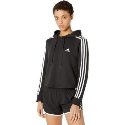 アディダス adidas レディース パーカー トップス 3-Stripes French Terry Cropped Hoodie Black/White