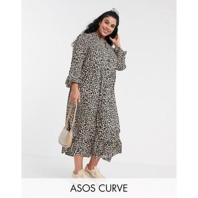 エイソス レディース ワンピース トップス ASOS DESIGN Curve button through tiered smock maxi dress in leopard print