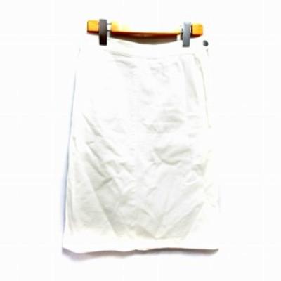 【中古】ノーリーズ Nolley's スカート タイト ひざ丈 ストレッチ 38 白 /NM レディース